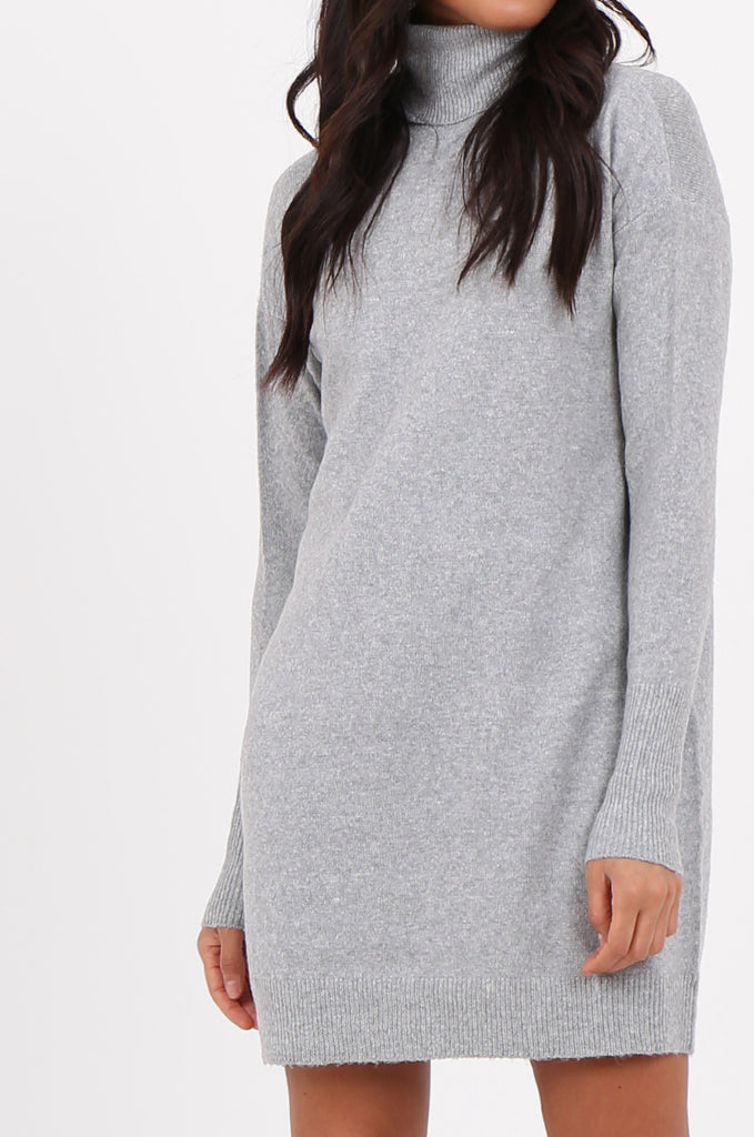 SF2278-GREY ROLL NECK SWEATER DRESS view 5