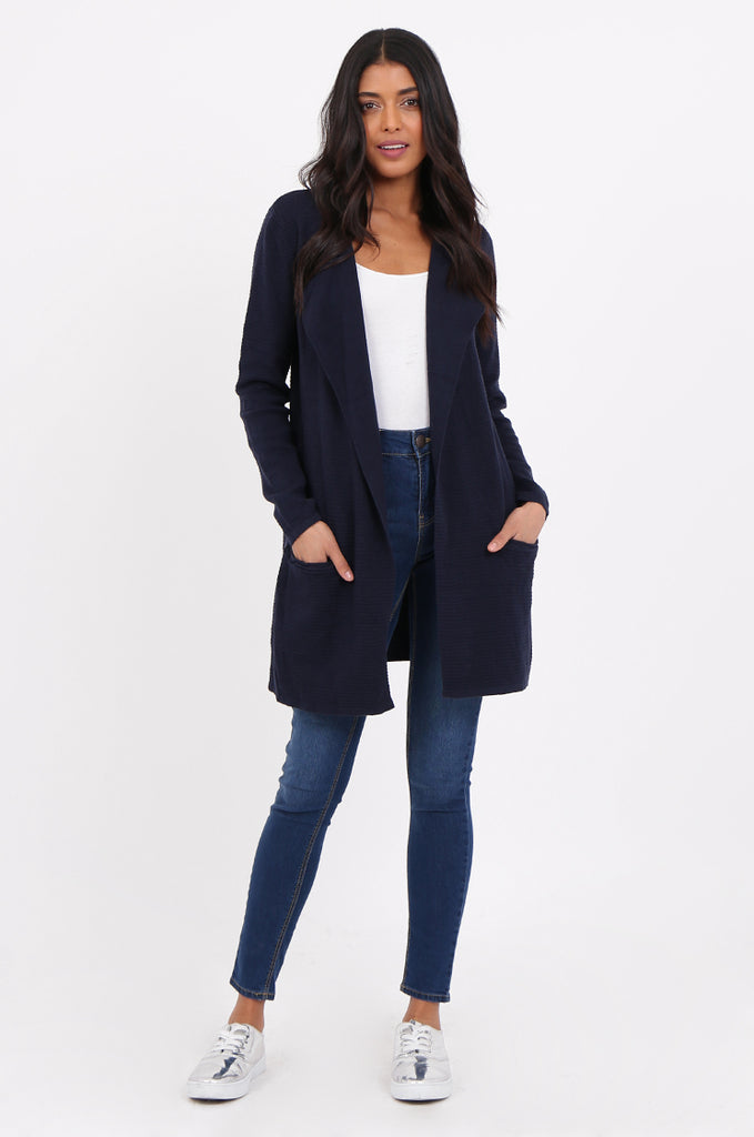 SF2280-NAVY RIBBED EDGE TO EDGE CARDIGAN