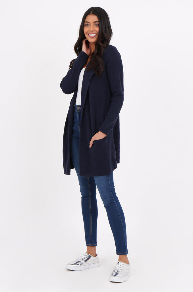 SF2280-NAVY RIBBED EDGE TO EDGE CARDIGAN view 2