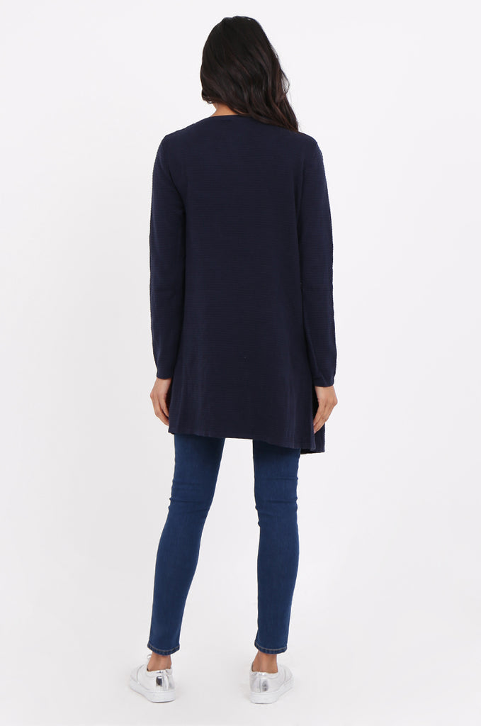 SF2280-NAVY RIBBED EDGE TO EDGE CARDIGAN view 3