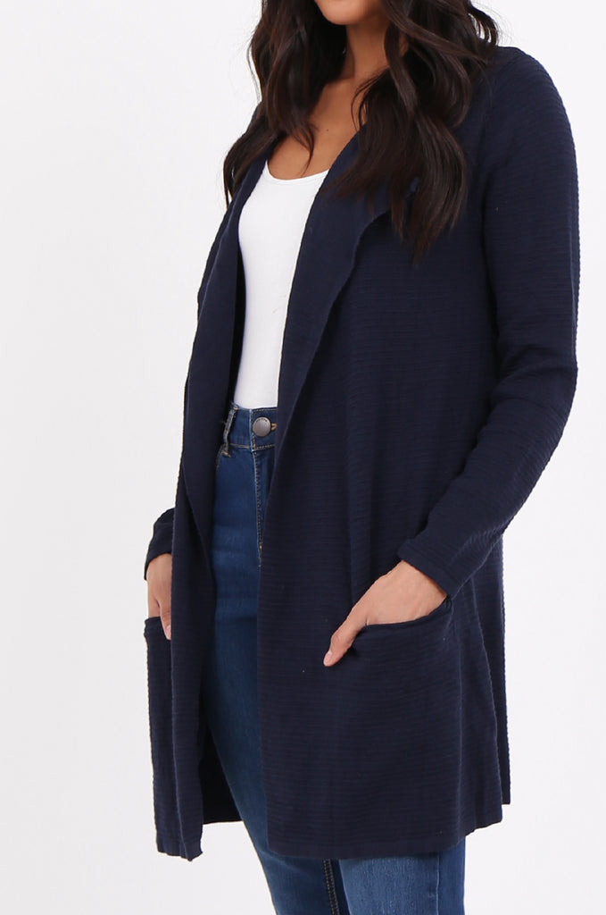 SF2280-NAVY RIBBED EDGE TO EDGE CARDIGAN view 4
