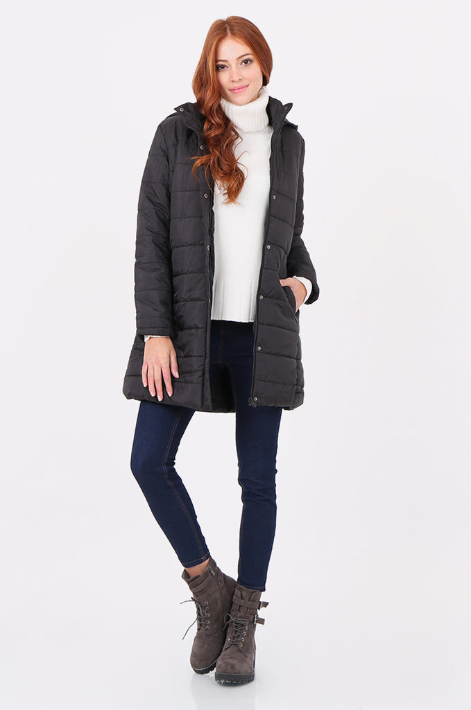 SF2292-BLACK LONGLINE HOODED PUFFER COAT view main view