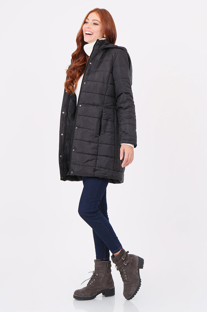 SF2292-BLACK LONGLINE HOODED PUFFER COAT view 2