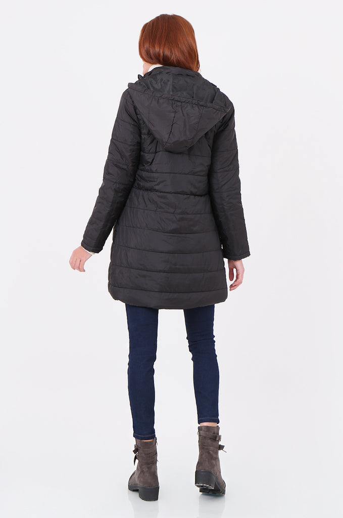 SF2292-BLACK LONGLINE HOODED PUFFER COAT view 3