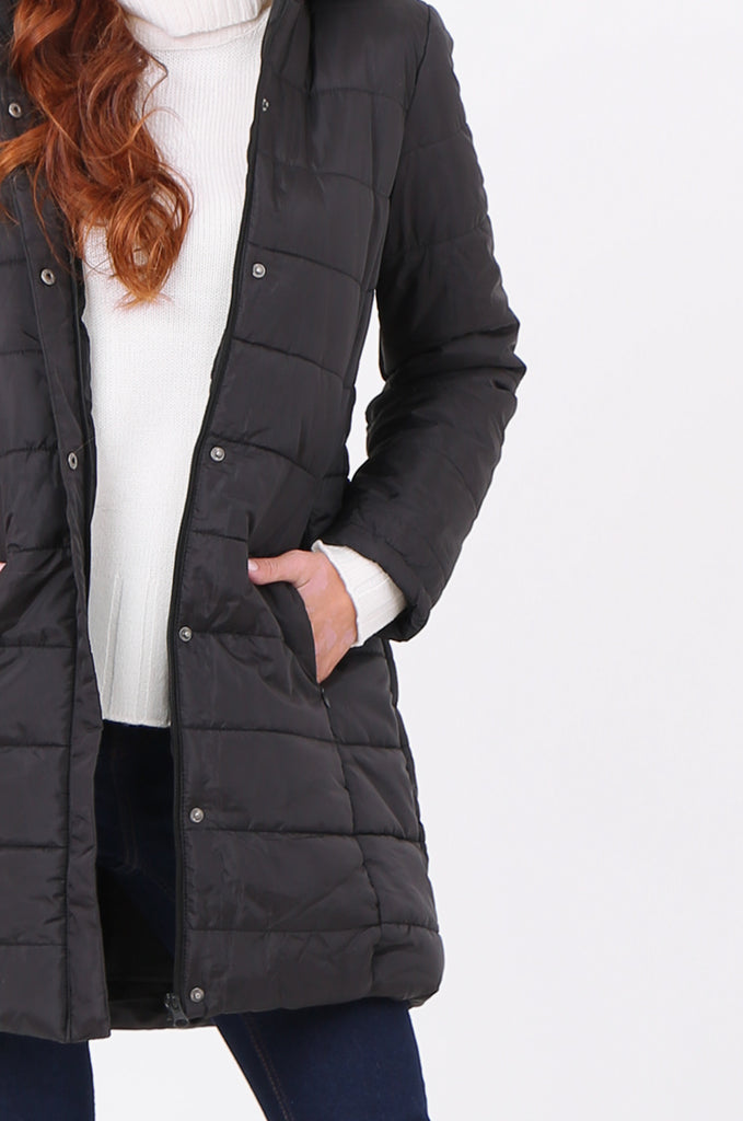 SF2292-BLACK LONGLINE HOODED PUFFER COAT view 4