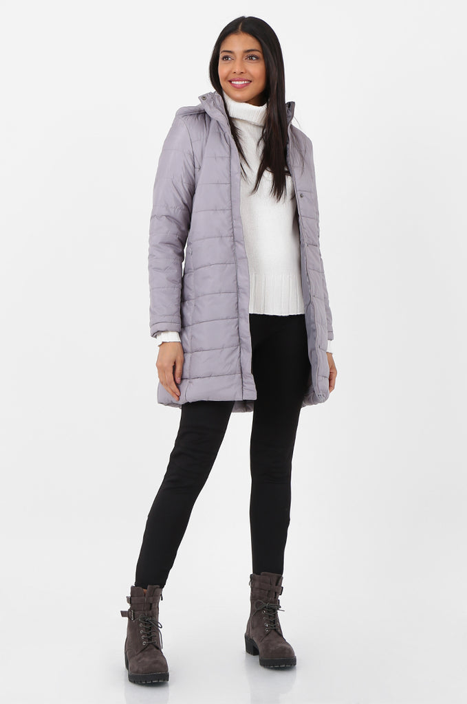 SF2292-GREY LONGLINE HOODED PUFFER COAT