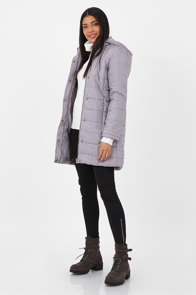 SF2292-GREY LONGLINE HOODED PUFFER COAT view 2