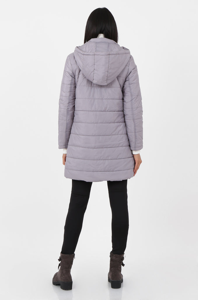 SF2292-GREY LONGLINE HOODED PUFFER COAT view 3