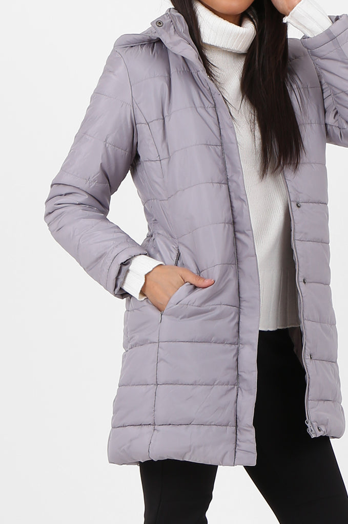 SF2292-GREY LONGLINE HOODED PUFFER COAT view 4