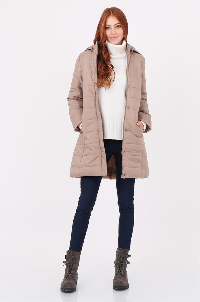 SF2292-STONE LONGLINE HOODED PUFFER COAT