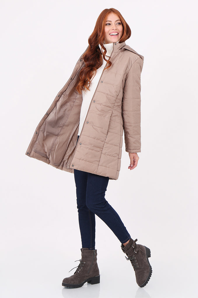 SF2292-STONE LONGLINE HOODED PUFFER COAT view 2