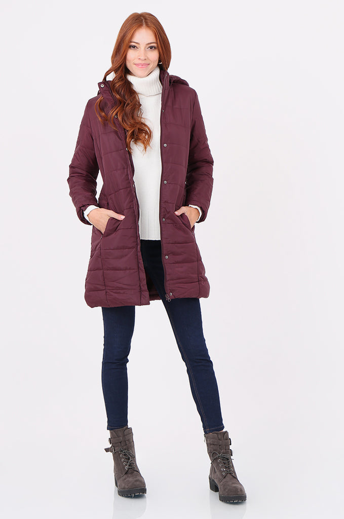 SF2292-WINE LONGLINE HOODED PUFFER COAT view main view