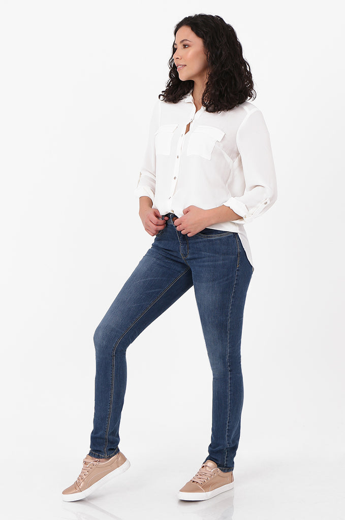 SF2561-BLUE SLIM LEG STRETCH JEANS view 2