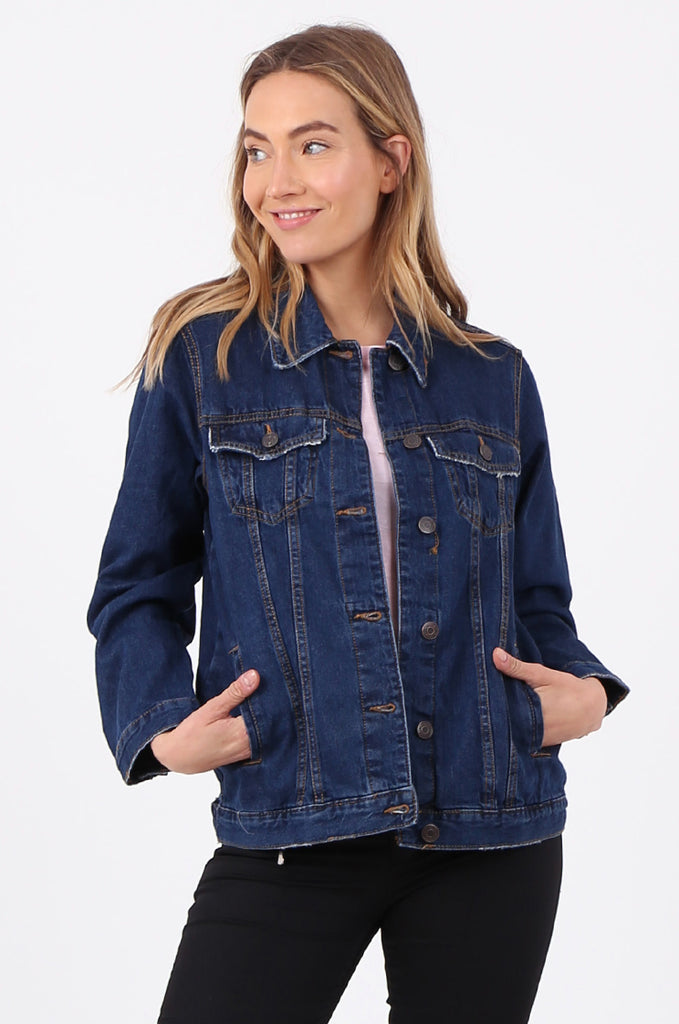 SF2665-DARK BLUE BUTTON FRONT DENIM JACKET