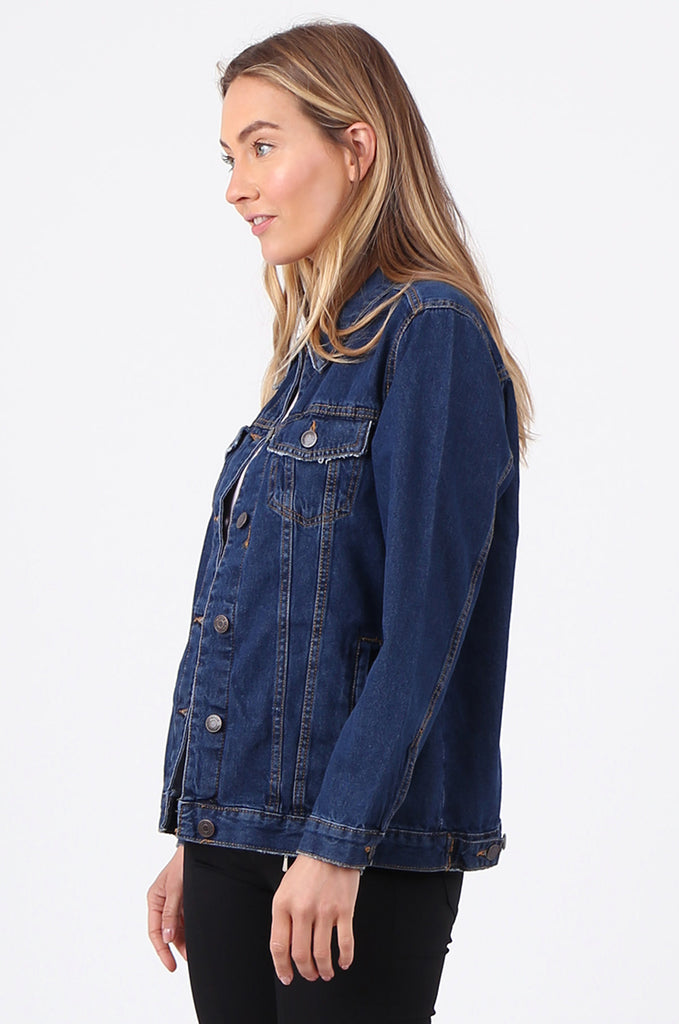 SF2665-DARK BLUE BUTTON FRONT DENIM JACKET view 2