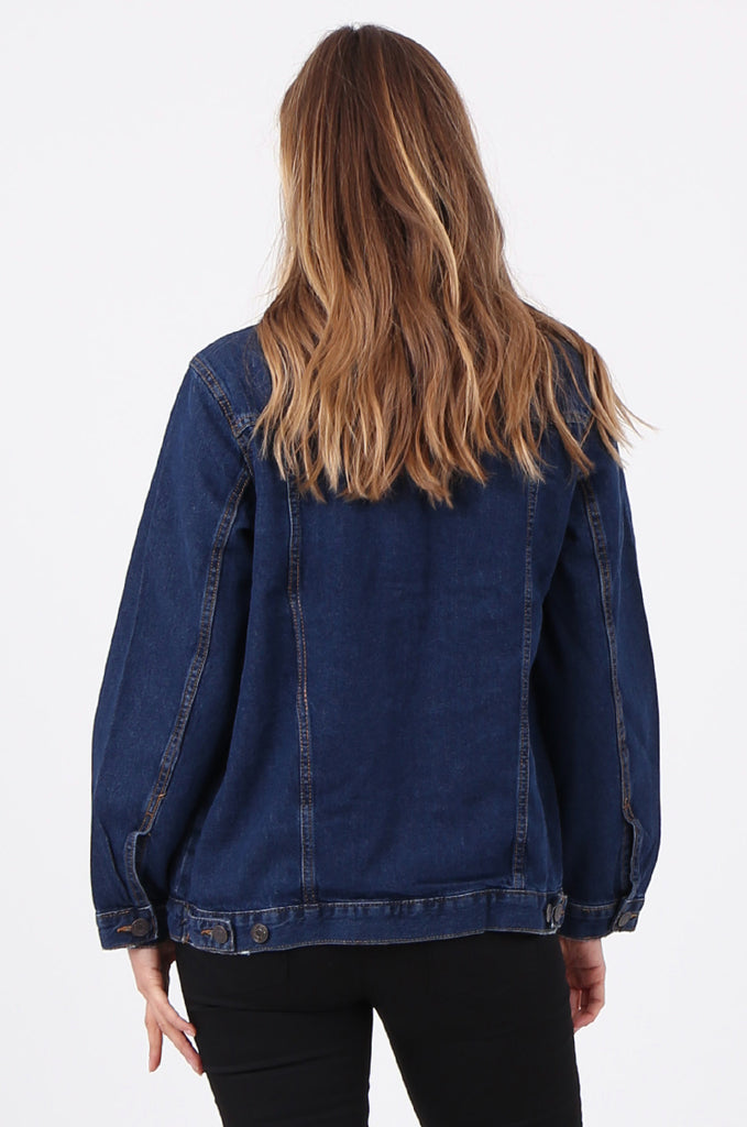 SF2665-DARK BLUE BUTTON FRONT DENIM JACKET view 3