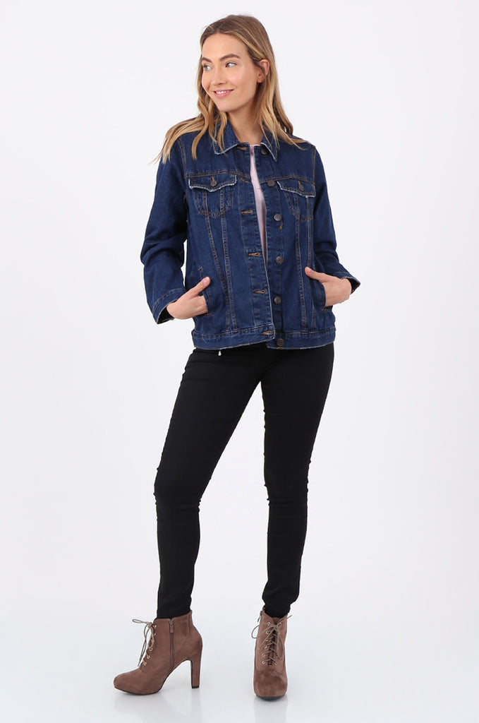 SF2665-DARK BLUE BUTTON FRONT DENIM JACKET view 4