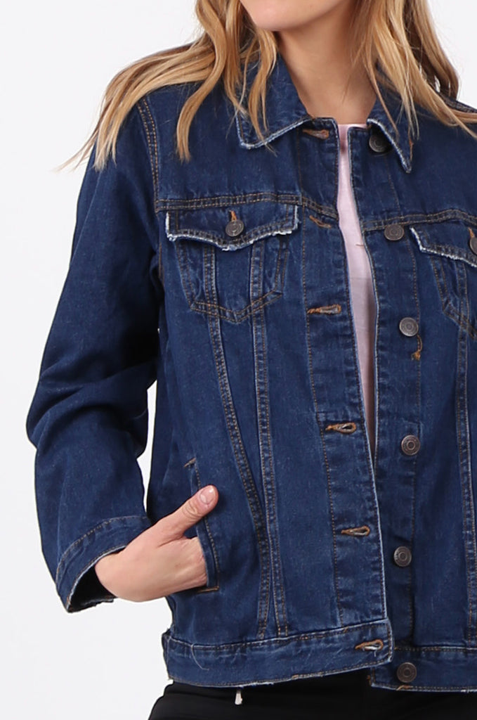 SF2665-DARK BLUE BUTTON FRONT DENIM JACKET view 5