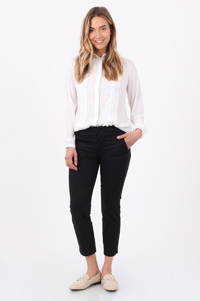 SF2690-BLACK TAILORED CROPPED CHINO TROUSER