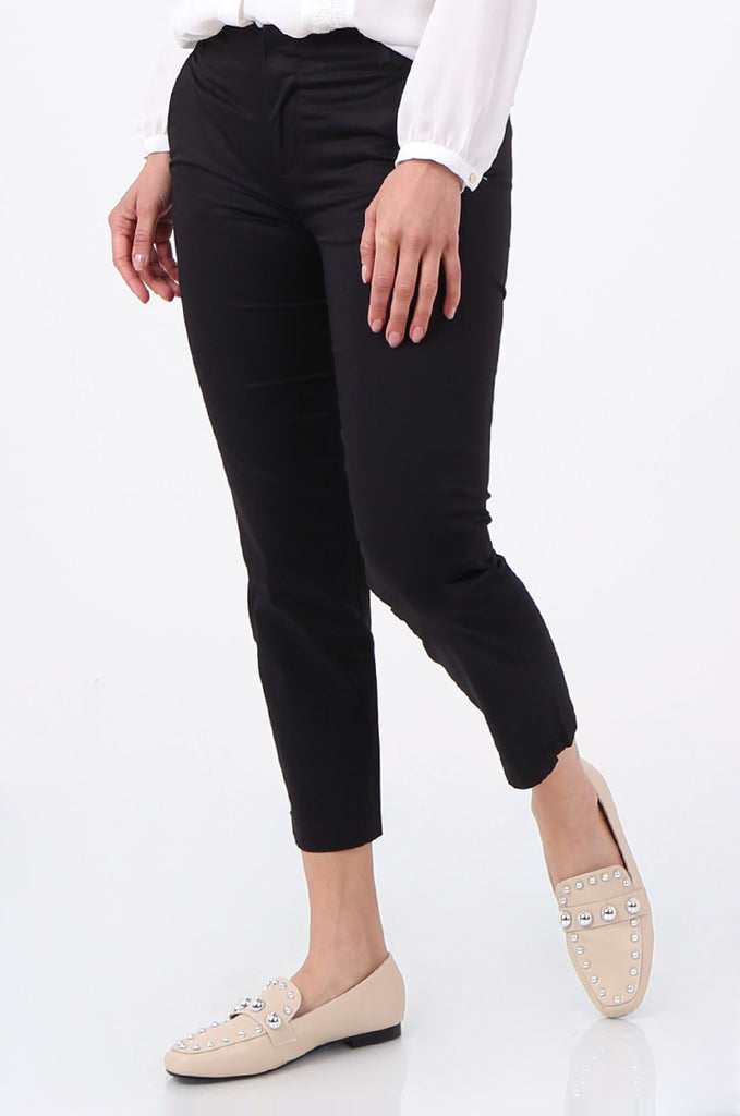 SF2690-BLACK TAILORED CROPPED CHINO TROUSER view 4