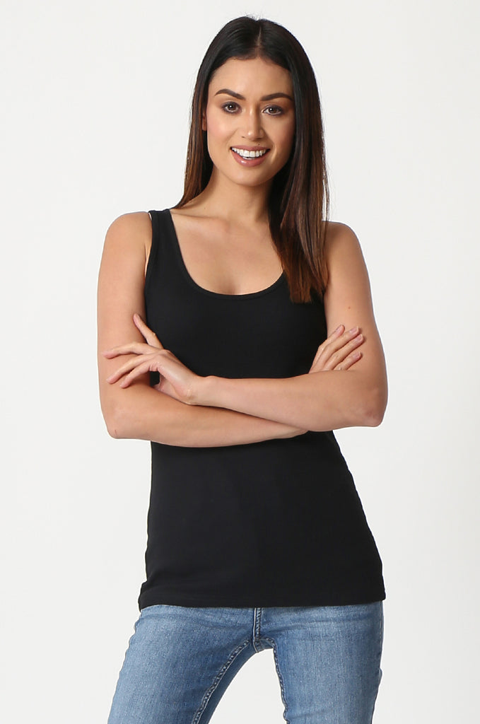 SF2857-BLACK BASIC RIBBED VEST