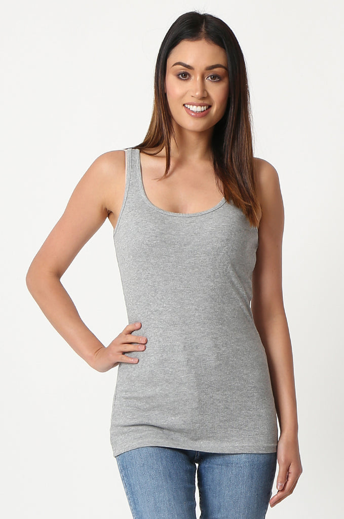 SF2857-GREY BASIC RIBBED VEST view main view