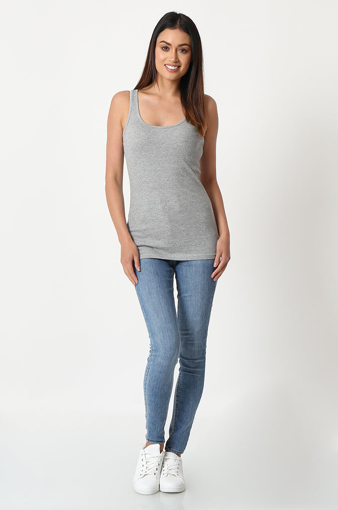 SF2857-GREY BASIC RIBBED VEST view 4