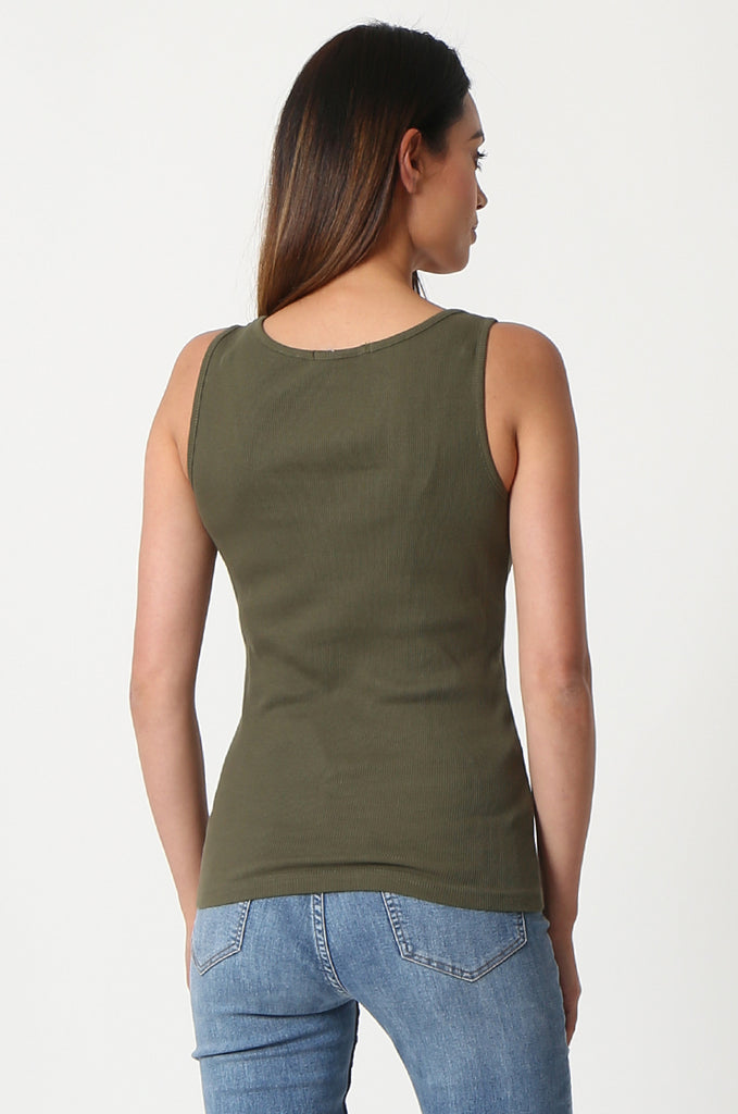 SF2857-KHAKI BASIC RIBBED VEST view 3