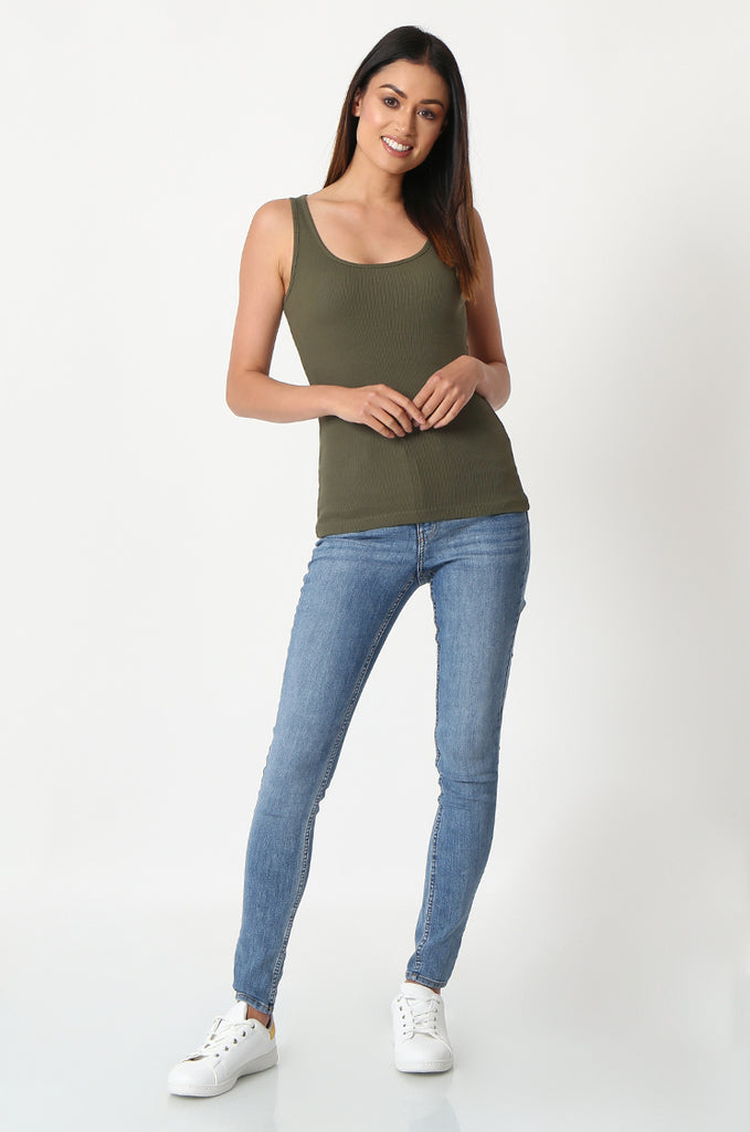 SF2857-KHAKI BASIC RIBBED VEST view 4