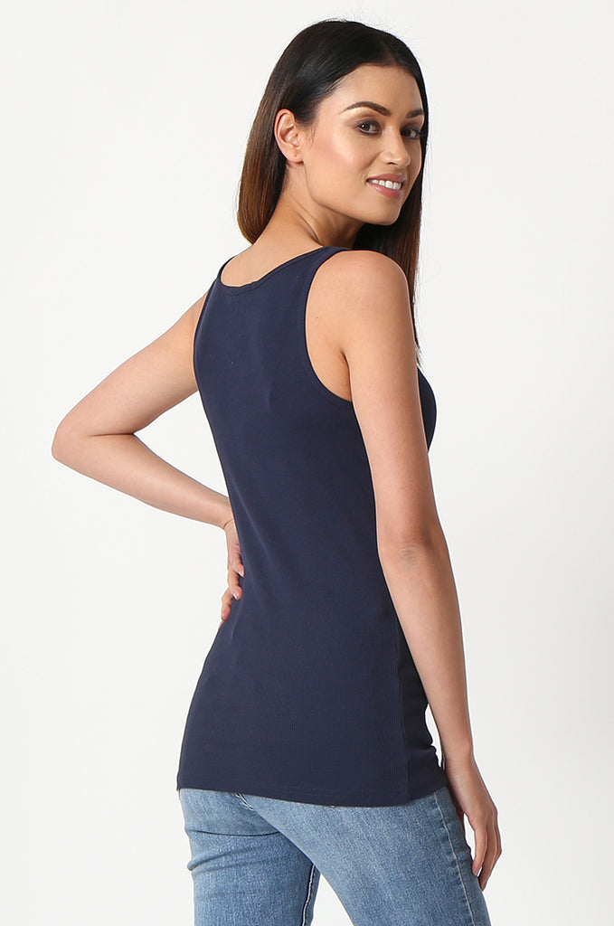 SF2857-NAVY BASIC RIBBED VEST view 3