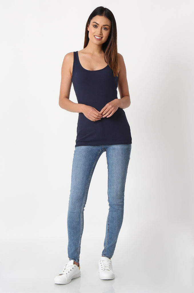 SF2857-NAVY BASIC RIBBED VEST view 4
