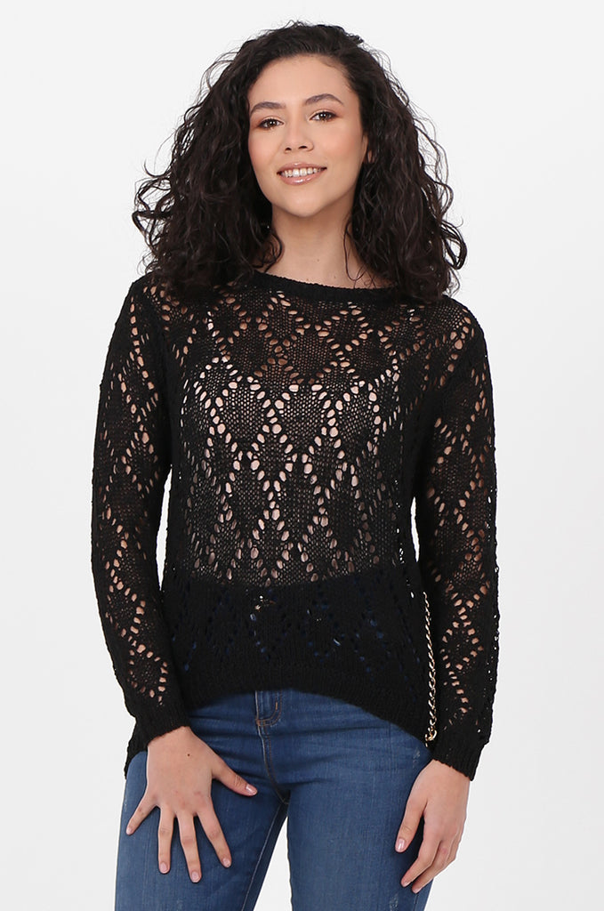 SFH2603-BLACK CHAIN DETAIL CREW NECK SWEATER view main view