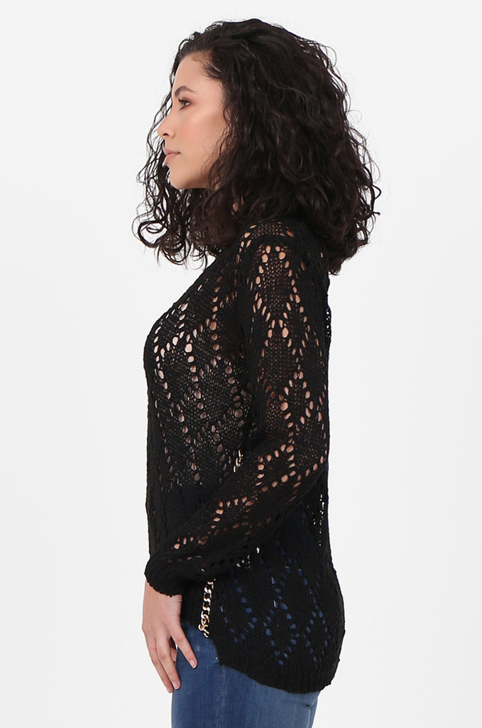 SFH2603-BLACK CHAIN DETAIL CREW NECK SWEATER view 2