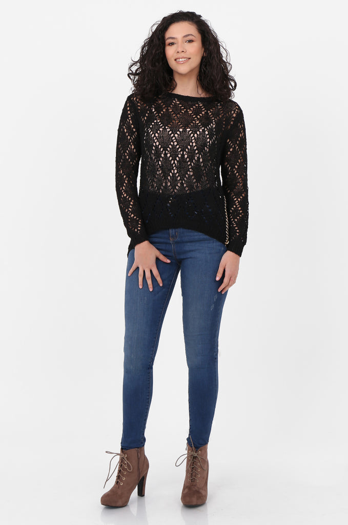 SFH2603-BLACK CHAIN DETAIL CREW NECK SWEATER view 4