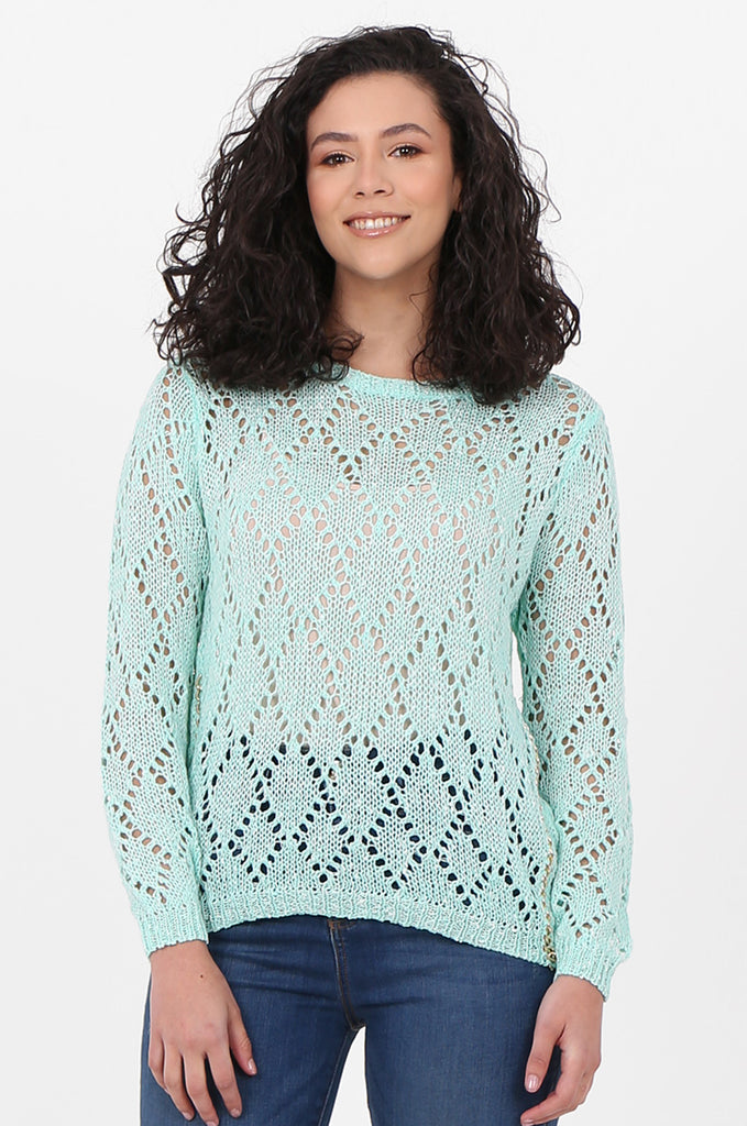 SFH2603-MINT CHAIN DETAIL CREW NECK SWEATER
