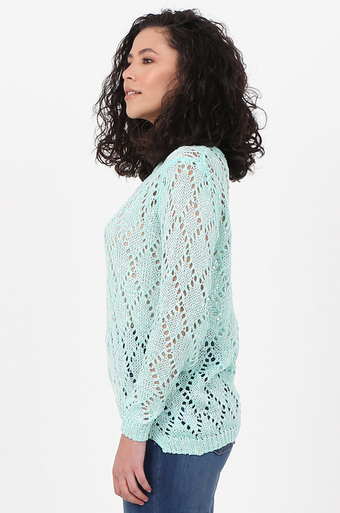 SFH2603-MINT CHAIN DETAIL CREW NECK SWEATER view 2
