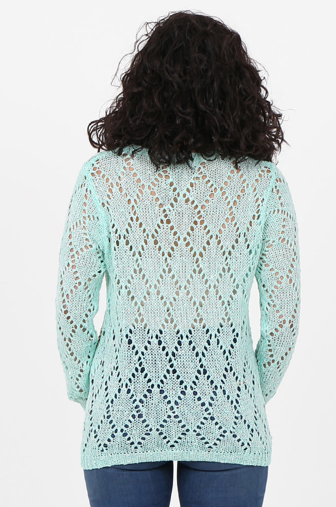 SFH2603-MINT CHAIN DETAIL CREW NECK SWEATER view 3