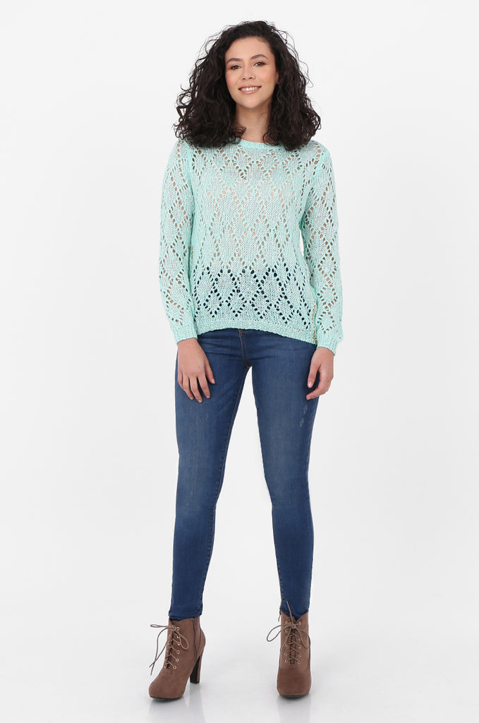 SFH2603-MINT CHAIN DETAIL CREW NECK SWEATER view 4