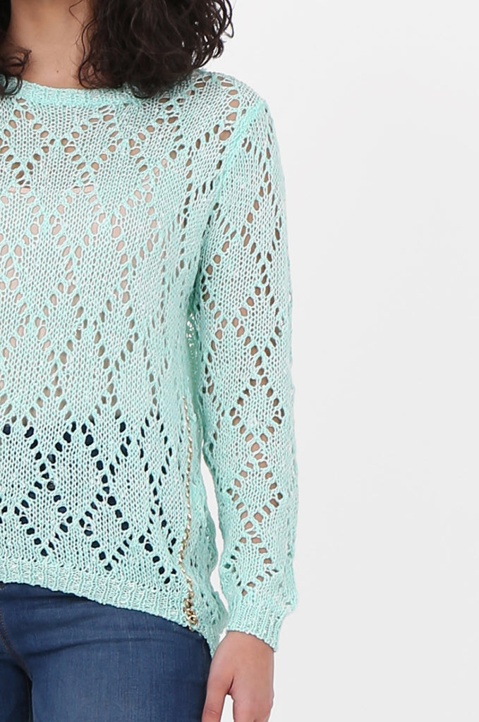SFH2603-MINT CHAIN DETAIL CREW NECK SWEATER view 5