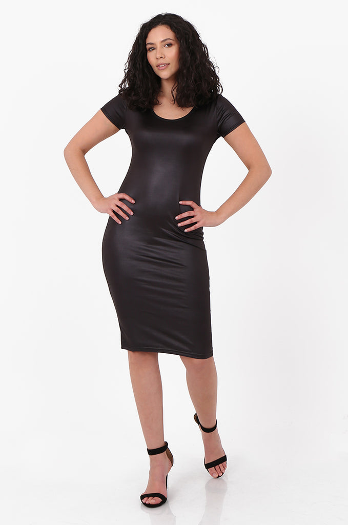 SFH2607-BLACK WET LOOK SHORT SLEEVE MINI DRESS