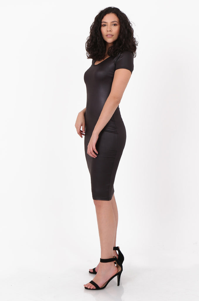 SFH2607-BLACK WET LOOK SHORT SLEEVE MINI DRESS view 2