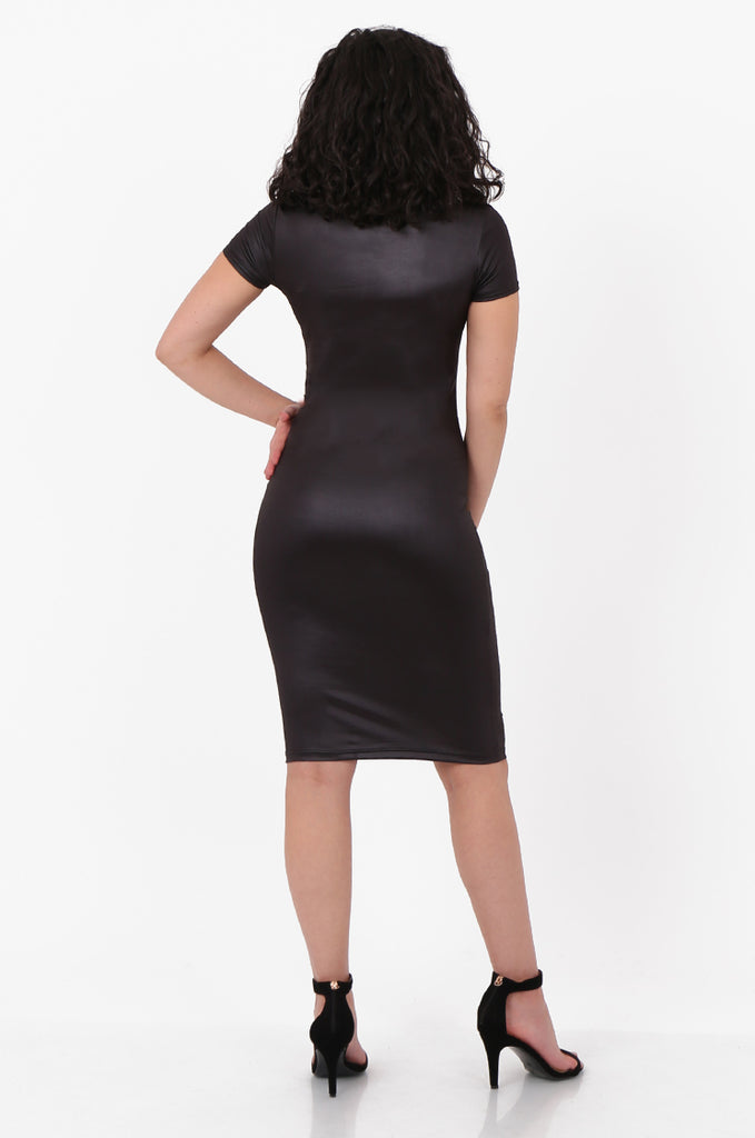 SFH2607-BLACK WET LOOK SHORT SLEEVE MINI DRESS view 3