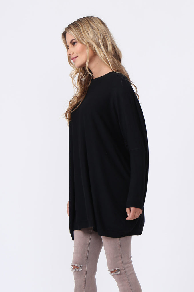 SFR0503-BLACK GLITTER SLIT BACK JUMPER view 3