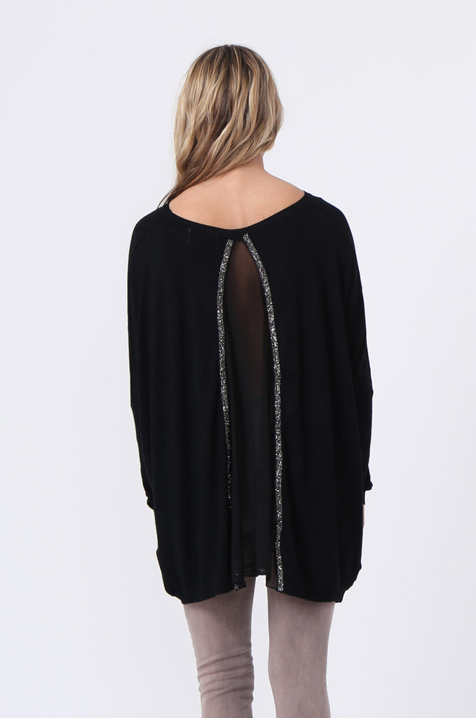 SFR0503-BLACK GLITTER SLIT BACK JUMPER