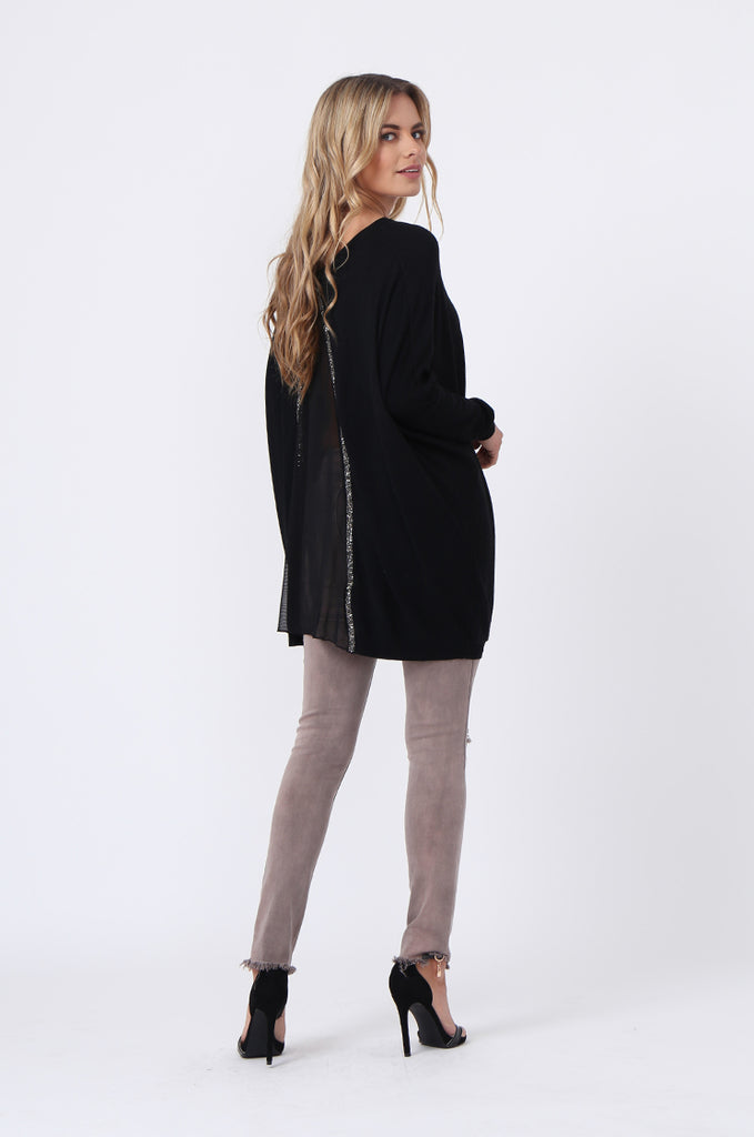 SFR0503-BLACK GLITTER SLIT BACK JUMPER view 4