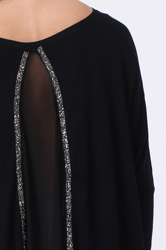 SFR0503-BLACK GLITTER SLIT BACK JUMPER view 5