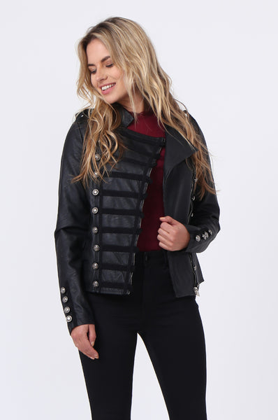 MILITARY STYLE LEATHERETTE JACKET
