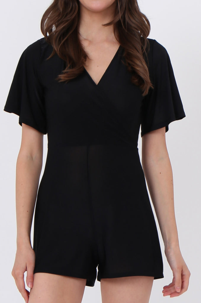 SGN1034-BLACK SHEER JERSEY PLAYSUIT view 5