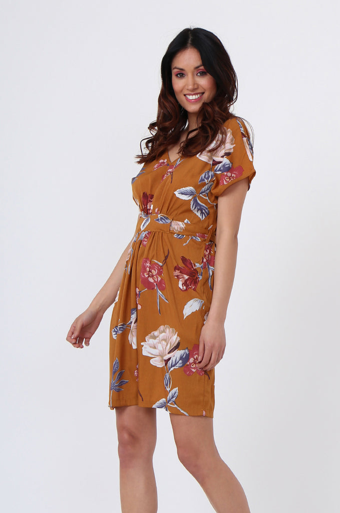 SGN1036-MUSTARD FLORAL TIE BACK DRESS view 3