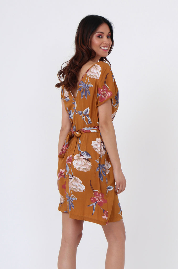 SGN1036-MUSTARD FLORAL TIE BACK DRESS view 4